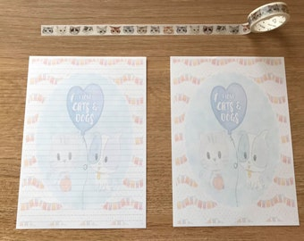 I Love Cats and Dogs Snail Mail Pen Pal Writing Paper