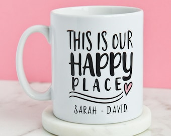 Personalised This Is Our Happy Place Mug | New Home House Happy Any Names Caravan | Present Coffee Gifts Mugs