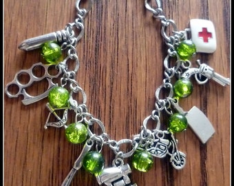 The Essentials  zombie survival bracelet mini version 8 charm 7 inch