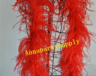 2 Meters red ostrich feather boa 2 ply thickness for party supply decor supply craft supply