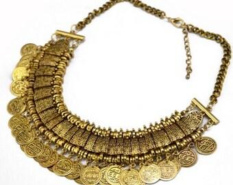 Gold tone Bohemian coin necklace chocker  Chain fashion arabian
