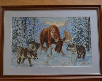 Cross stitch embroidered finished picture with frame-Men gift-Birthday gift-Home decor-Gift for hunters-Hunting-Forest-Elk and wolves-Snow