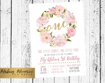 Pink Floral First Birthday Pink Watercolor Birthday Invitation, Flowers, Floral, Shower Invitation, Floral Invite, Flower Invite, one, two