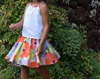 Bright Floral Swing Skirt, Toddler/Girls, made on Kauai, Hawaii