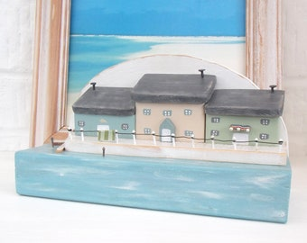 Wooden seaside houses | nautical | cottages | seaside | beach house | Fathers Day gift | wooden beach | recycled wood | driftwood  |sea