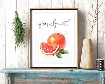 Food Painting, Grapefruit, Watercolor Print, Restaurant Decor, Kitchen Wall Art, Kitchen Decor, Cook Printable, Fruits Printable, Veggies