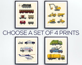 Toddlers room decor, Boys print set, Vehicle wall decor, Train wall art, Construction decor, Gift for Boys, Big boys room, Educational print