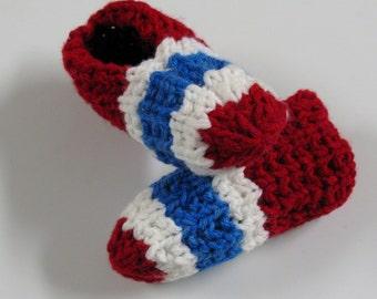 PATRON PDF No 2 Pantoufles tricot Canadiens de Montréal, Habs, adulte, enfant 6 à 8 ans, français, anglais, 3petitesmailles, chaussons