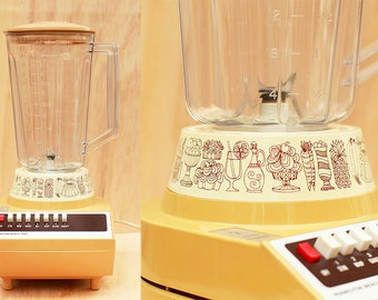 Unique Mod 70s Hamilton Beach Limited Edition Scovill Blender with Cute Illustrated Detail in Mustard Yellow Works! 7 Speed MCM Model 626