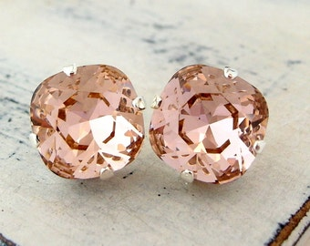 Blush earrings,blush pink stud earrings,blush pink bridesmaid earrings, blush pink bridal earrings,rose gold swarovski crystal earrings