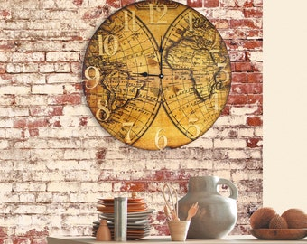 Large wood map wall art unique rustic wall by pyneandsteele rustic wall clock large round wooden wall clock with vintage old world map gumiabroncs Images