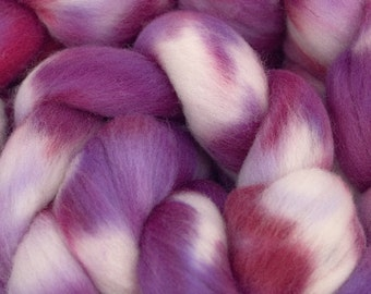 Hand Dyed Merino Wool Combed Top, 4oz, in Magenta