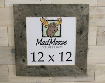 "12x12 BarnWood [Thin x 3""] Picture Frame       (tags: barn wood frame barnwood frame weathered wood frame rustic frame square frame 12 x 12)"