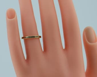 14K Yellow Gold Band with Small Channel set Diamonds, size 5.25