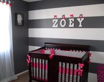 Crib Bedding Set Fuchsia And Gray Chevron Deposit