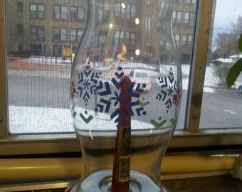 Pfaltzgraff Nordic Christmas Glass Hurricane with Candle Lantern