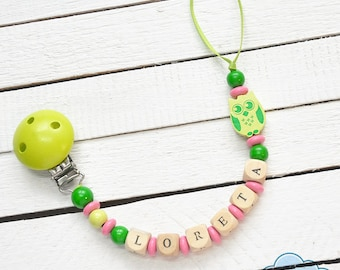 Personalized Pacifier Holder, YOUR BABY NAME, Dummy, Soother Clip, Wood Beads