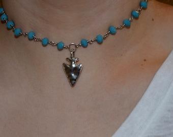 blue arrow choker necklace jewelry rosary chain