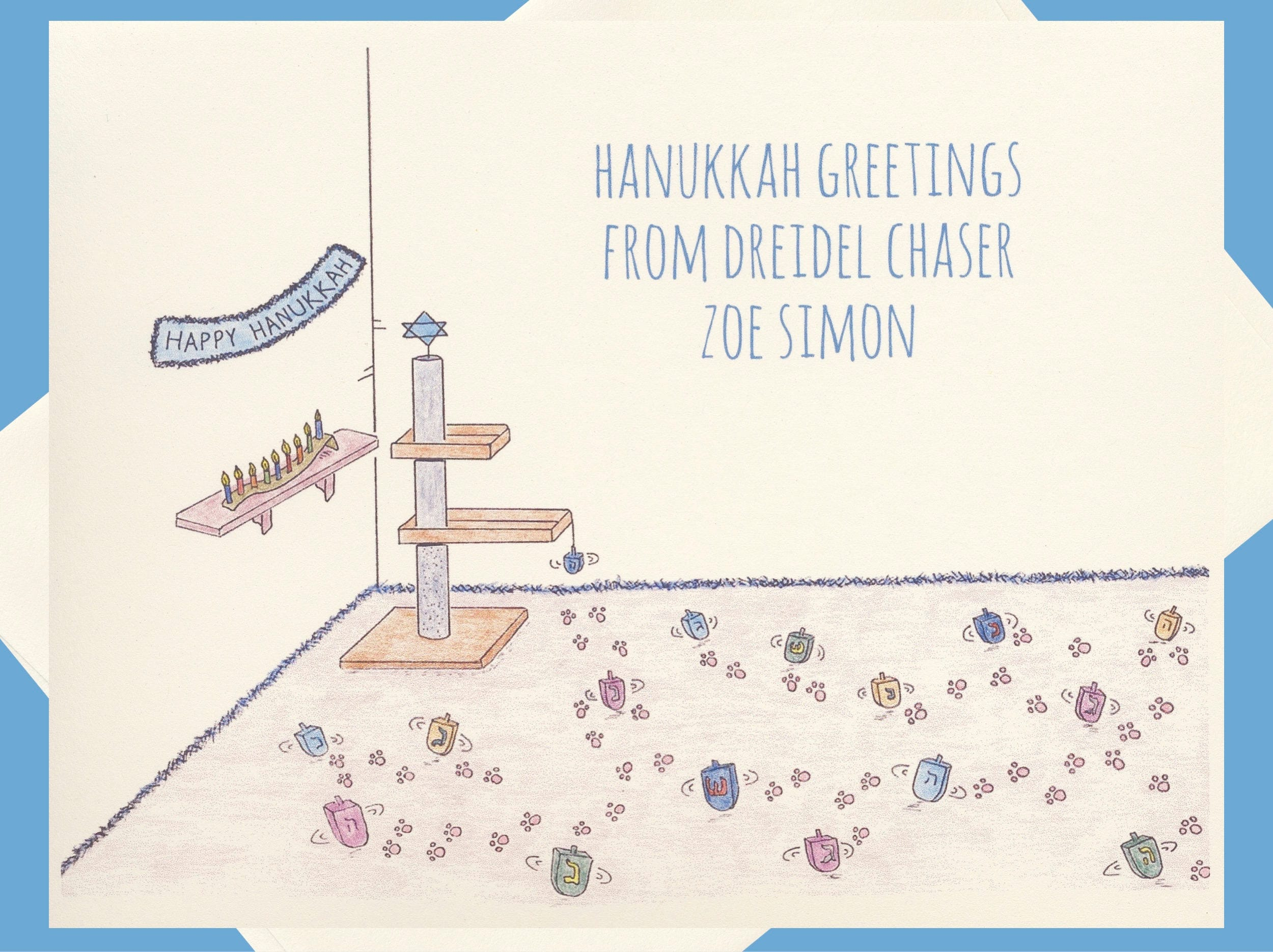 Hanukkah cards personalized holiday cards cat cards jewish zoom kristyandbryce Images