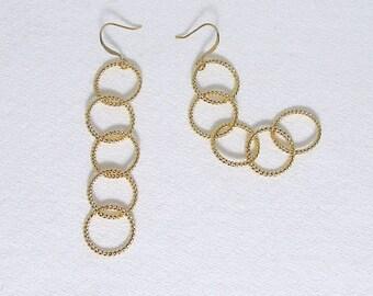 Hoop Earrings, Gold, Silver, Twisted Hoops, Long Chain, Earrings, Twist Earrings