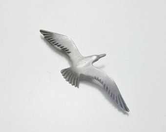 Pewter Flying Sea Gull Bird 1960's Vintage Mid Century Costume Jewelry Brooch And Pendant Necklace Beach Tropical Ocean Gift For Her on Etsy