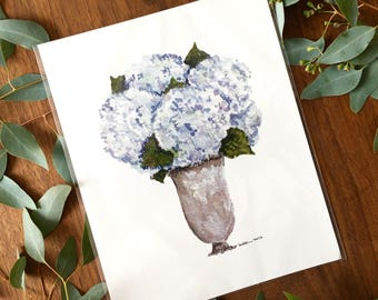Blue Hydrangeas in Silver Vase Watercolor Print