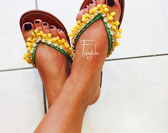 """Pom poms Greek Leather sandals - authentic leather handmade sandals, stylish sandals with crystals  """"Dolce Vita"""""""