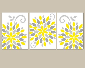 Yellow Gray Flower Wall Art, Canvas or Prints, Yellow Gray Bathroom Decor, Floral Bedroom Pictures, Nursery Decor, Flower Burst, Set of 3