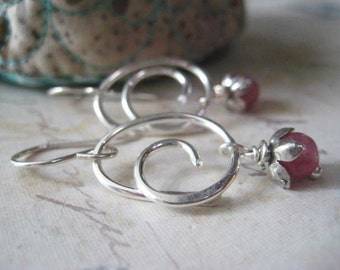 Sapphire Earrings, Sterling Silver, Pink Sapphire, Swirl Earrings, Flower Beadscaps, Sapphire Gemstone, Genuine Sapphire, candies64