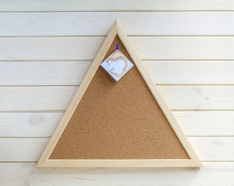 Unique Triangular Cork Board Pin board framed Corkboard pinboard Bulletin message pin board unusual Triangle shape wooden frame