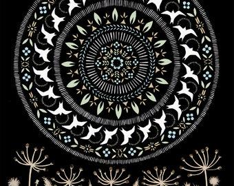 Moon of the Circling Swallows - 11 x 14 inch Cut Paper Art Print