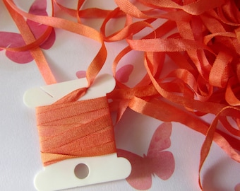 Hand Dyed Silk Ribbon - Embroidery - 4mm - Needlecraft - Salmon