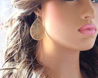 Gold Plated Laser Cut Filigree Earrings, Laser Cut Lightweight, Gold Earrings, Birthday, Gifts (49MMX32MM)