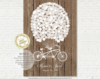 Rustic wedding guest book alternative guest book wedding guestbook wood sign custom guest book canvas wedding guestbook balloons and bike