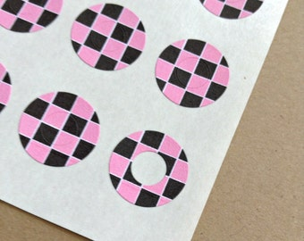 Pink and Black Checkered - Trendy Page Dots - Circle Reinforcements - Labels, Stickers - Hole Reinforcements