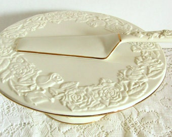 Gorgeous Royal Limited Embossed Roses Cake Stand & Server