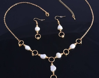 Set of freshwater pearls gold gold filed