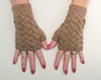 Fingerless Gloves, Fawn Merino Artisan Wristwarmers,  Brown Handspun Mitts, British Wool Texting Gloves, Brown Handspun Knitted Gloves