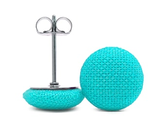 6 Shapes + Sizes! Surgical Steel Fabric Covered Button Stud Earrings - Aqua Solid Colour - Round + Square