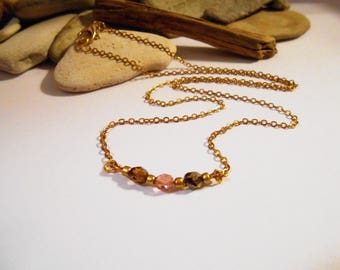 Dainty Gold Bar Necklace Pink and Amber Czech Glass Delicate Gold Necklace Charm Necklace Elegant Romantic Dainty Necklace Gifts Under 20