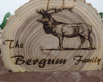 Personalized Engraved Elk Family Sign Log Candle, Home Decor, Christmas Gift, Wedding Centerpiece, Mother's Day Gift, Anniversary Gift