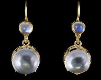 Antique Victorian Moonstone Earrings 9ct Gold Circa 1900