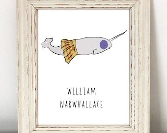 Narwhal, Funny Animal Print, Instant Download, nerdy animal print, nerd art, nerdy, cute narwhal, Scotland print, Braveheart, Scottish