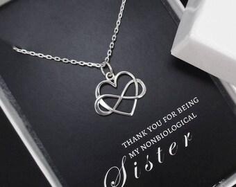 Sister Necklace, Unbiological Sister Necklace, Unbiological Sister Gift, Infinity Heart Necklace, Friendship Necklace, Sterling Silver