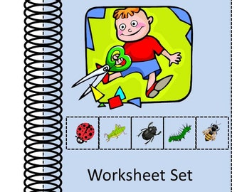 Teaching Materials, Instant Printable, Back to School,20 Cut and Paste worksheets