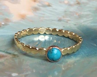 Turquoise ring, skinny ring, dainty ring, December birthstone ring, Gold ring, brass ring, stacking ring, gemstone ring - Wake Up Call R2504