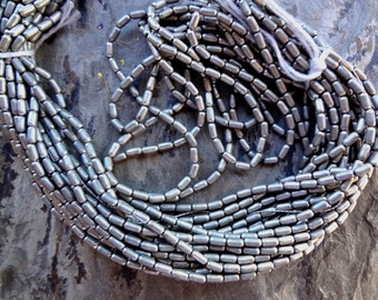 Brass Tube, 4mm, Rice Bead, African Brass, African Trade Bead, Matte Light Silver, 25 Inch Strand, Priced per Strand