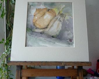 Original Watercolour; The snail; the snail