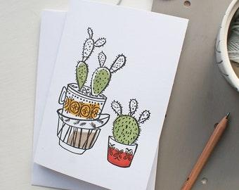 Letterpress Cactus/Succulent Greeting card