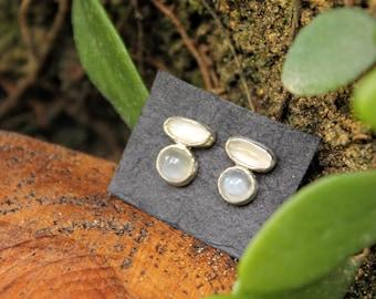 Moon drops moonstone cluster earrings